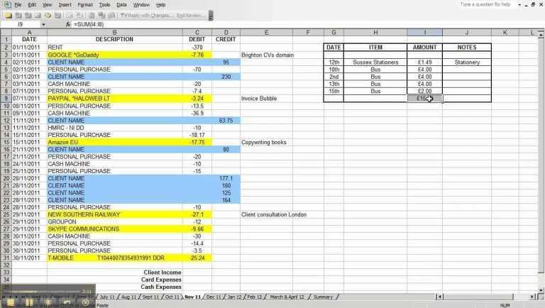 Business Income and Extra Expense Worksheet as Well as Free Excel Spreadsheet for Small Business In E and Expenses and