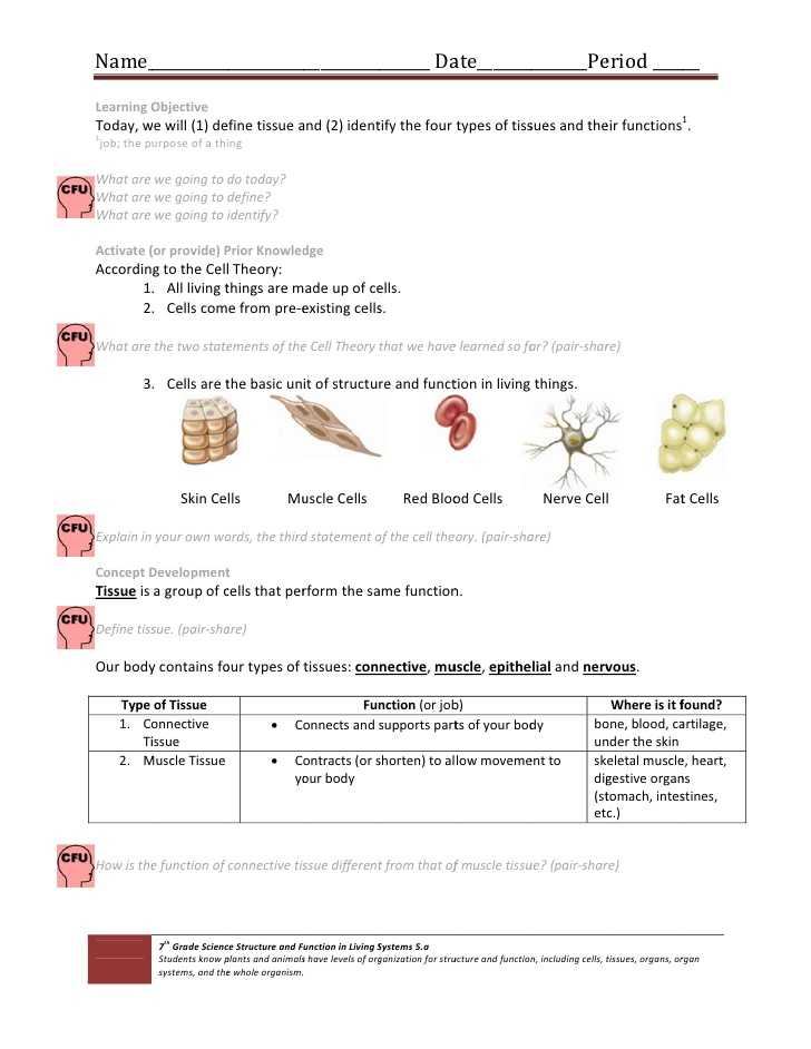 Cells Tissues organs organ Systems Worksheet and Cell & Tissue Handout