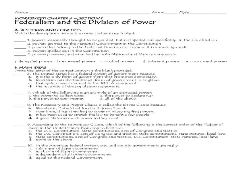 Chapter 20 Section 2 the Harding Presidency Worksheet Answers with 22 Best S Federalism the Division Power Worksh