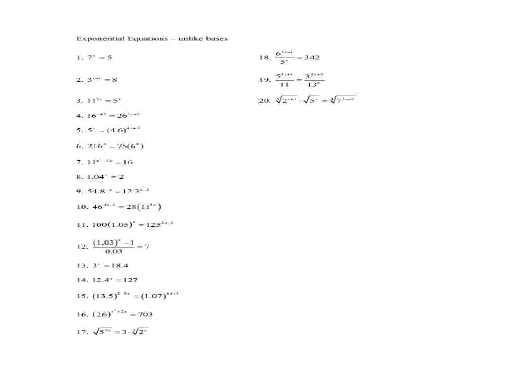 Chapter 7 Worksheet 1 Balancing Chemical Equations Answers Along with solving Exponential Equations Using Logarithms Worksheet the