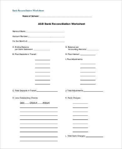Checking Account Reconciliation Worksheet Along with Blank Bank Reconciliation Template Staruptalent