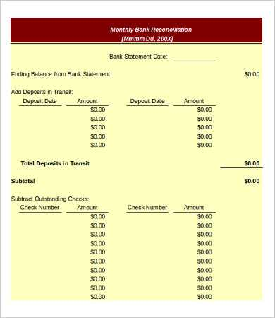 Checking Account Reconciliation Worksheet with Bank Reconciliation Template 11 Free Excel Pdf Documents