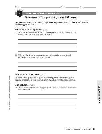 Chemistry Worksheet Types Of Mixtures Answers as Well as Directed Reading Worksheet Elements Pounds and Mixtures Kidz