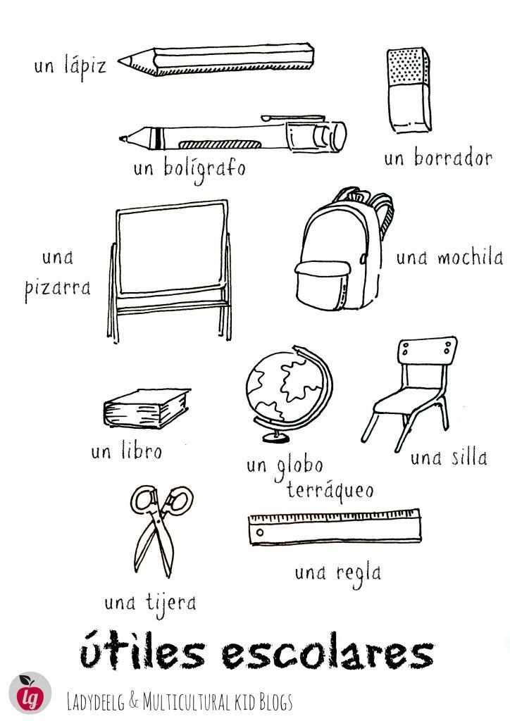 Classroom Objects In Spanish Worksheet Free Also 42 Best La Escuela School Images On Pinterest