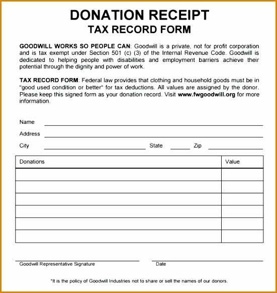 Clothing Donation Tax Deduction Worksheet or Donation Tax form aslitherair