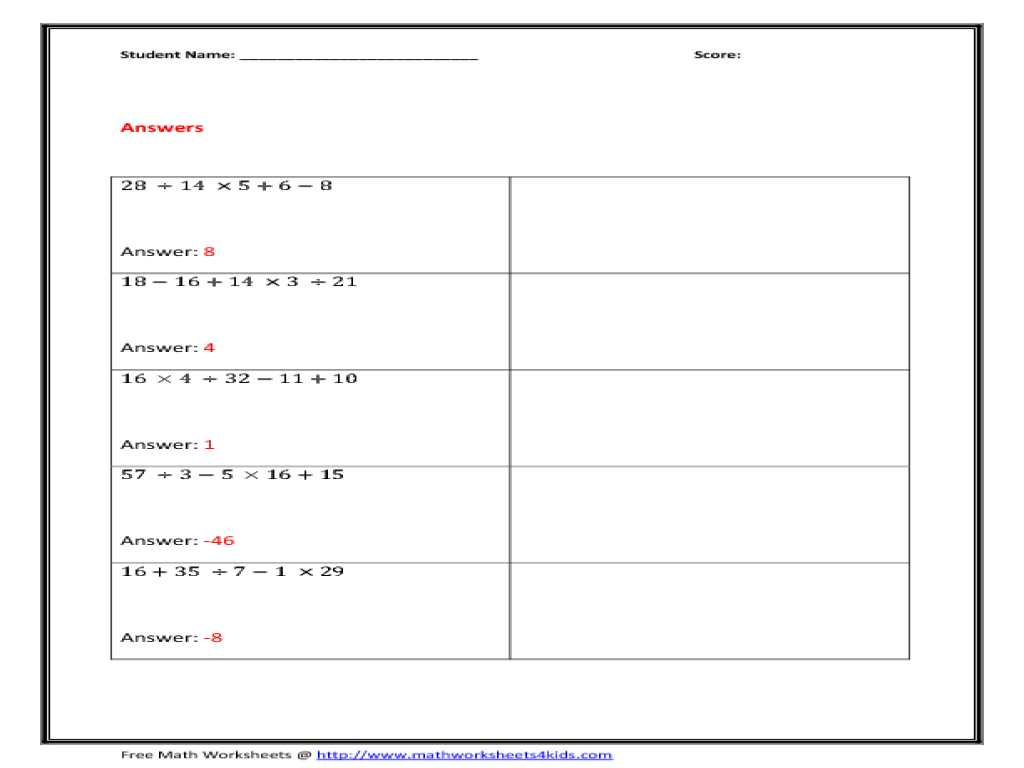Constitution Worksheet Answers Along with Colorful Math Worksheets order Operations with Exponents