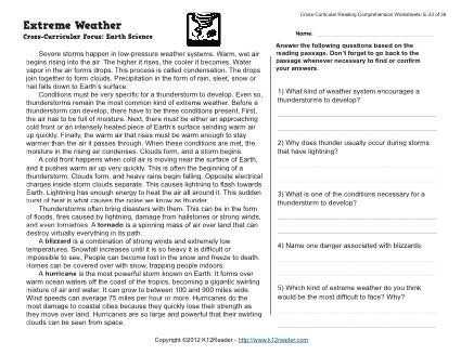 Cross Curricular Reading Comprehension Worksheets as Well as Extreme Weather