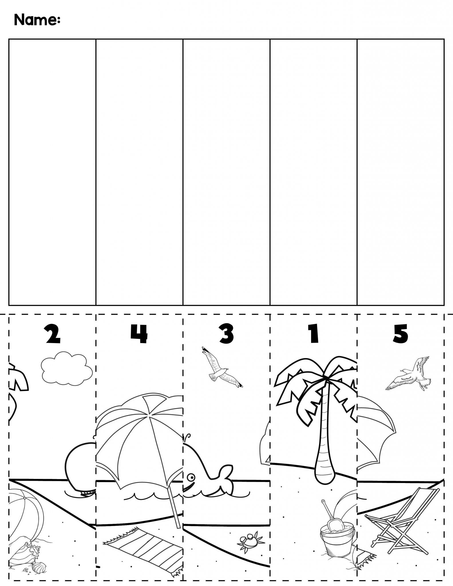 Cut and Paste Worksheets for Kindergarten Also Summer Beach Number order Cut & Paste Scene