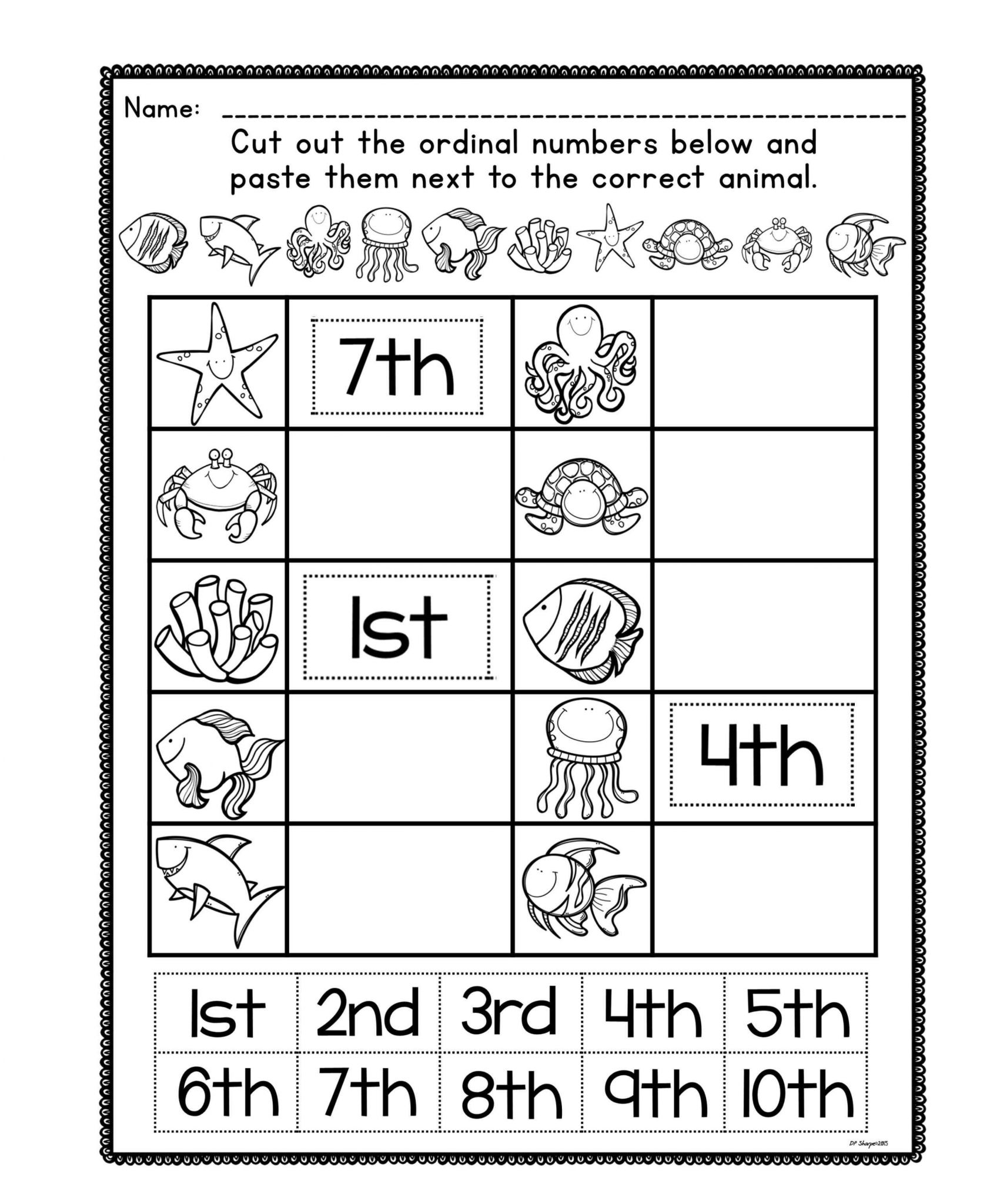 Cut and Paste Worksheets for Kindergarten and Free Kindergarten Math Worksheets Inspirational ordinal Number