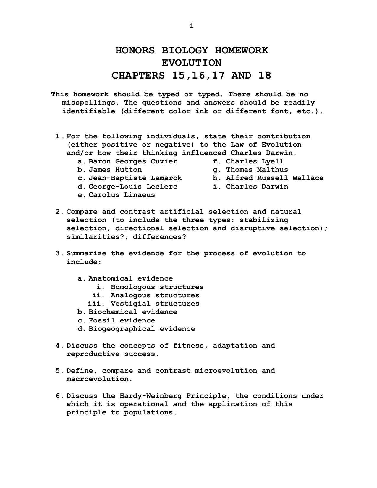 Types Of Evolution Worksheet