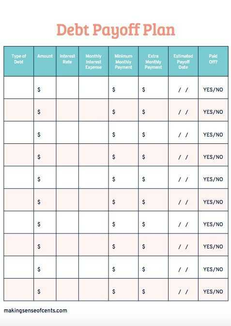 Debt Payoff Worksheet Pdf with Debt Payoff Planner Free Printable