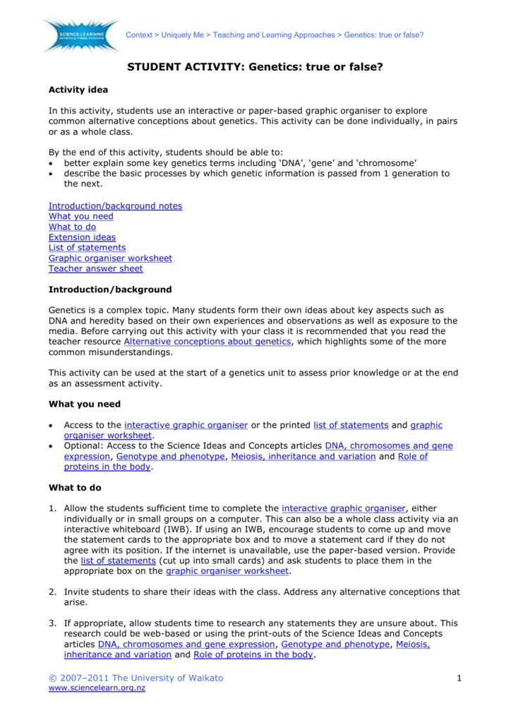Dna Interactive Worksheet Answer Key Along with Genetics True or False