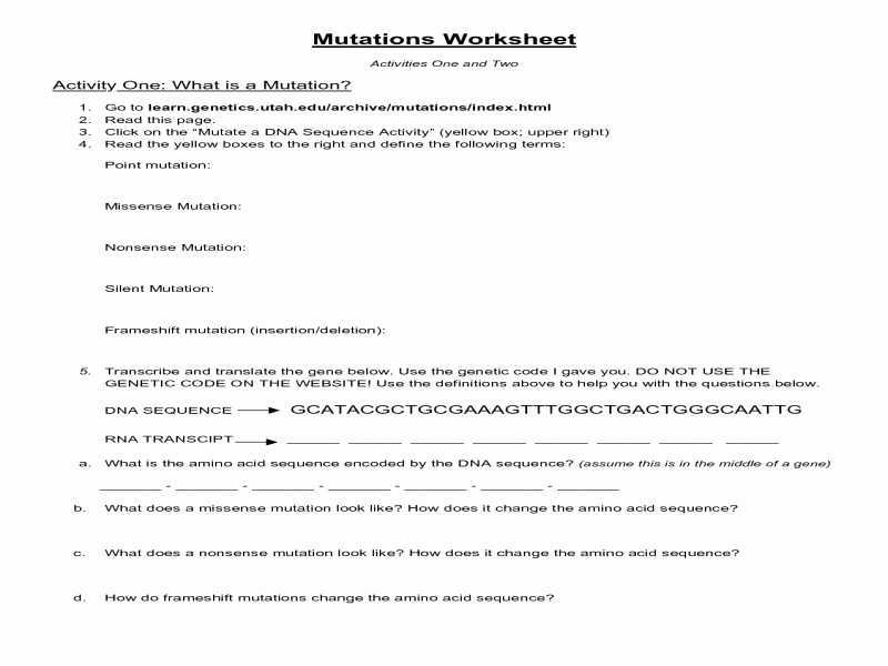 Dna Mutations Worksheet Answer Key together with 43 Dna Mutations Practice Worksheet Answers Fresh