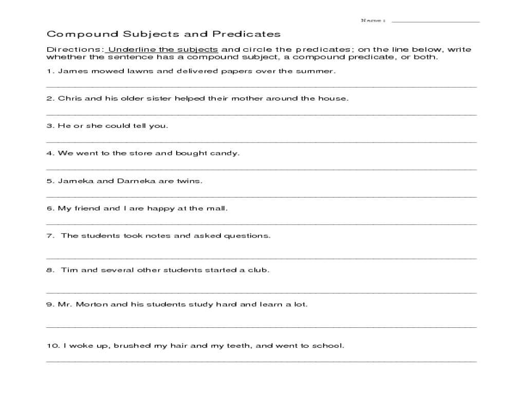 Ecological Relationships Worksheet Answers or Subjects and Predicates Worksheet Gallery Worksheet for Ki