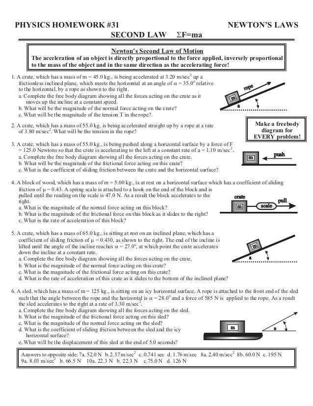 Force Practice Problems Worksheet Answers Also Home Worksheets Review
