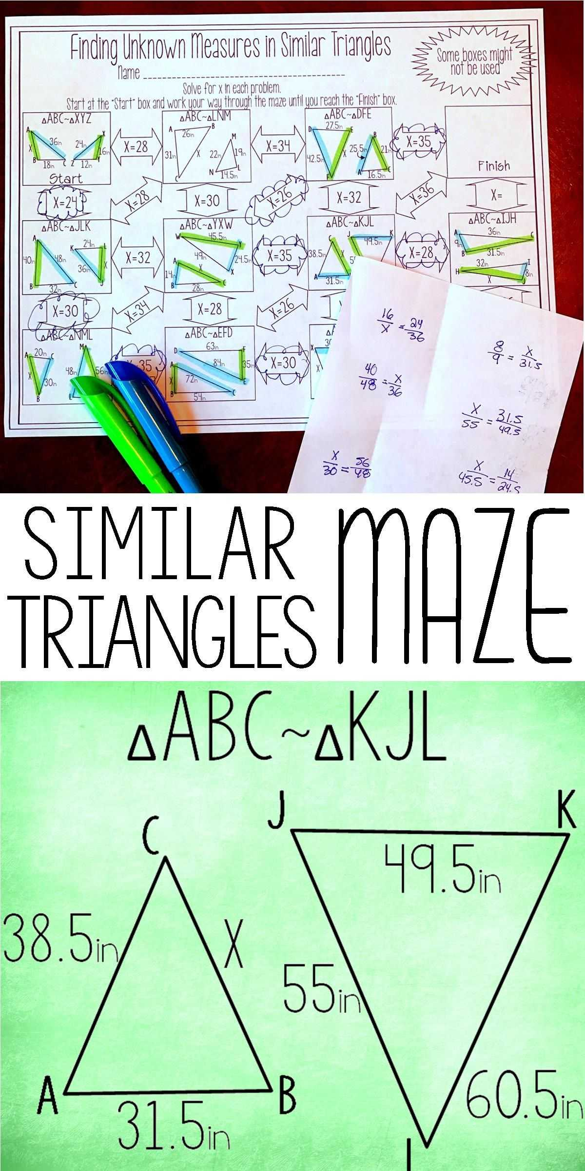 Geometry Worksheet Congruent Triangles Sss and Sas Answers together with Finding Unknown Measures In Similar Triangles Maze
