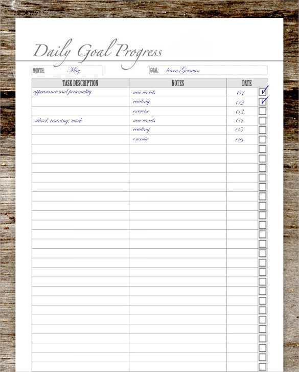 Goal Tracking Worksheet or Goal Tracking Sheet aslitherair