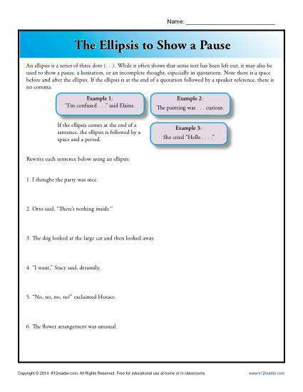 Grammar and Punctuation Worksheets or Awesome Punctuation Worksheets Elegant the Ellipsis to Show A Pause