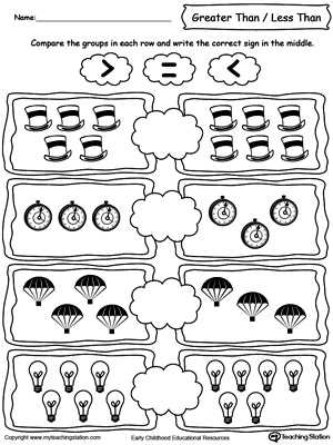 Greater Than Less Than Worksheets for Kindergarten with Using Less and Greater Than Signs by Paring the Number Of Objects