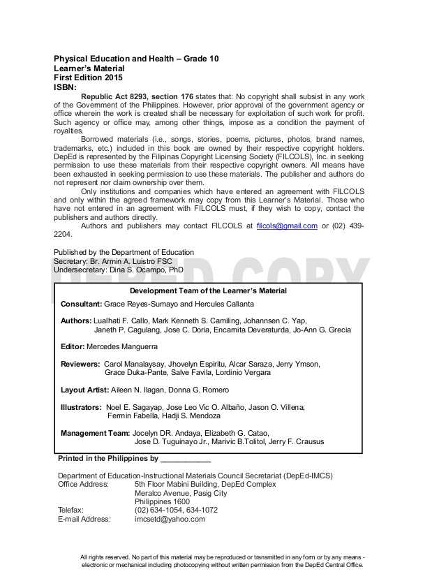 High School Health Worksheets Pdf with Physical Education 10 Learning Material