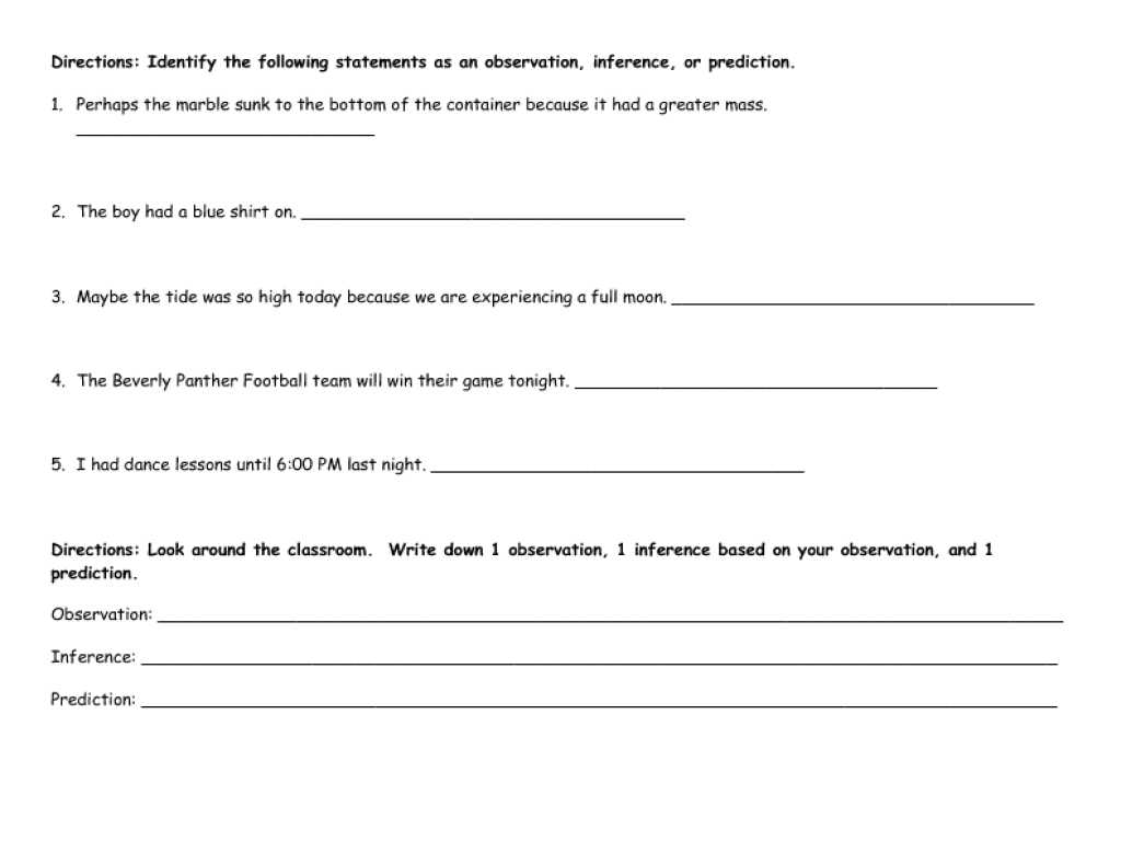 Inferences Worksheet 2 Answers or Printables Observation and Inference Worksheet Tempojs Tho