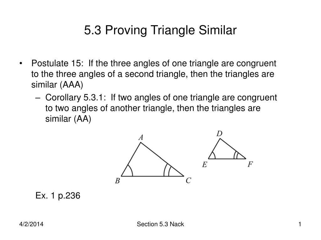 Interior Angles Of A Triangle Worksheet Pdf or Ppt 53 Proving Triangle Similar Powerpoint Presentation