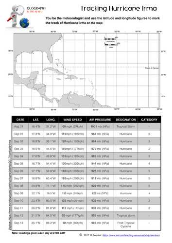 Latitude and Longitude Worksheets 7th Grade Along with Tracking Hurricane Irma A Latitude Longitude Plotting Exercise by