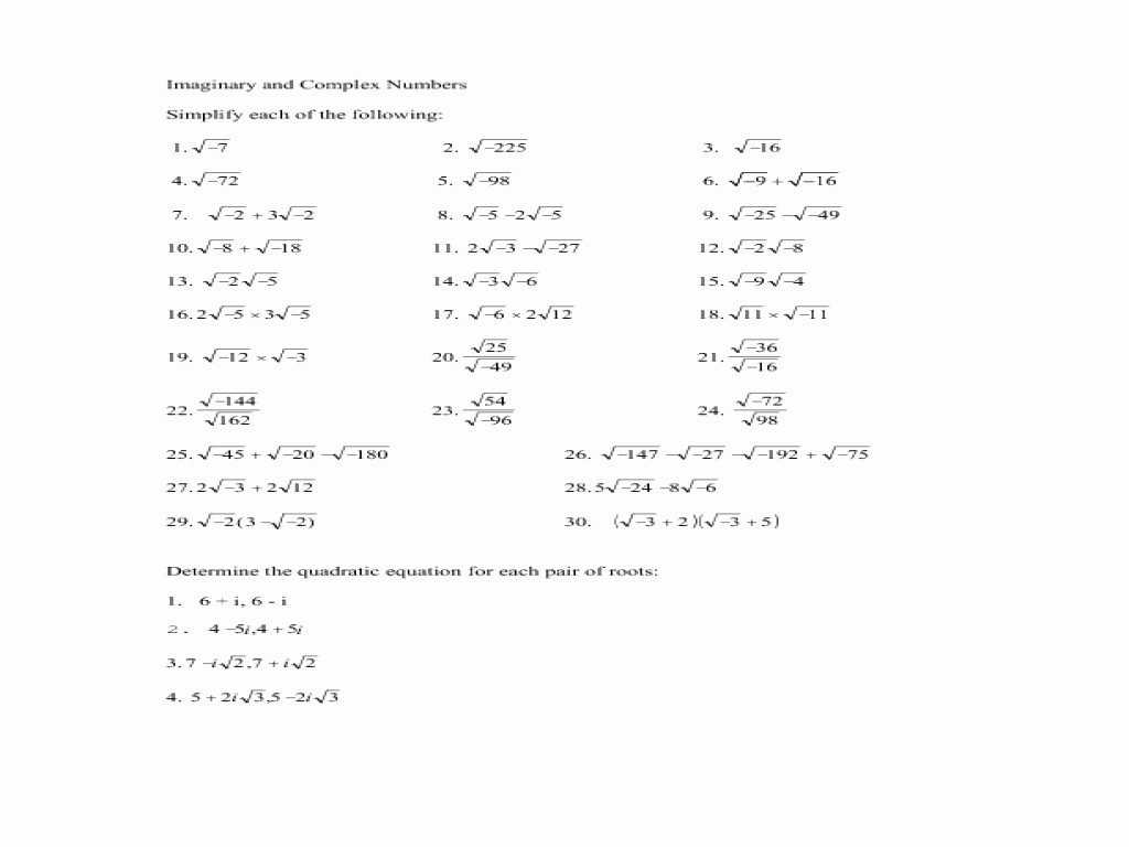Linear Regression Worksheet Answers as Well as Plex Numbers Worksheet Super Teacher Worksheets