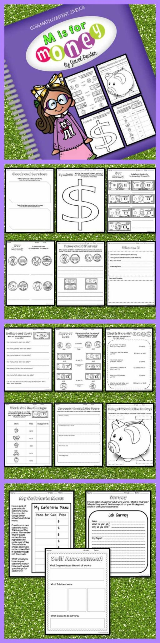 Math assessment Worksheets and Money Activities Money Worksheets