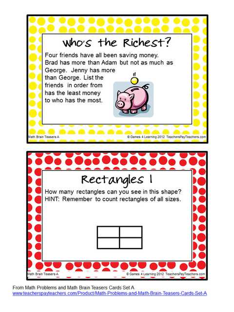 Math Brain Teasers Worksheets and Freebie Math Brain Teasers the Kids Love Having their Brains