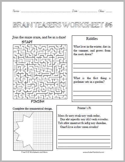Math Brain Teasers Worksheets together with Brain Teasers Worksheet 6 Here is A Fun Handout Full Of Head
