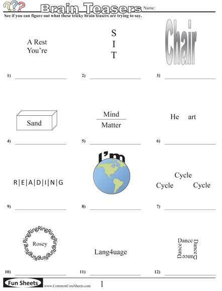 Math Brain Teasers Worksheets together with Free Math Brain Teasers Worksheets Lovely Brain Teaser Worksheets