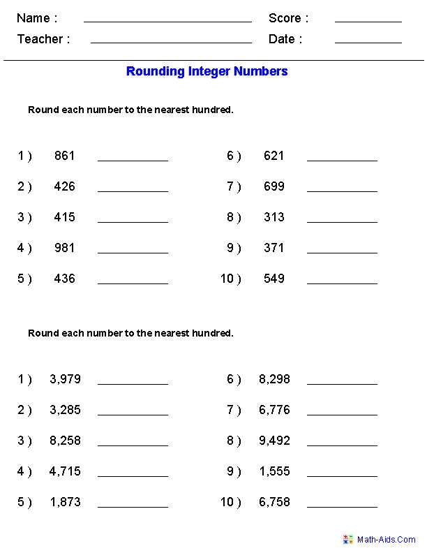 Math Decimal Worksheets with Rounding Worksheets for Integers Math Center