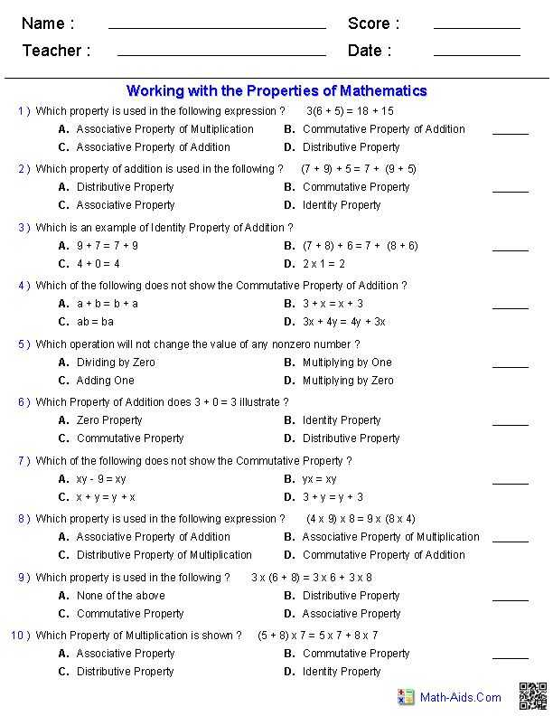 Math Properties Worksheet Pdf and 9 Best for Learning Images On Pinterest