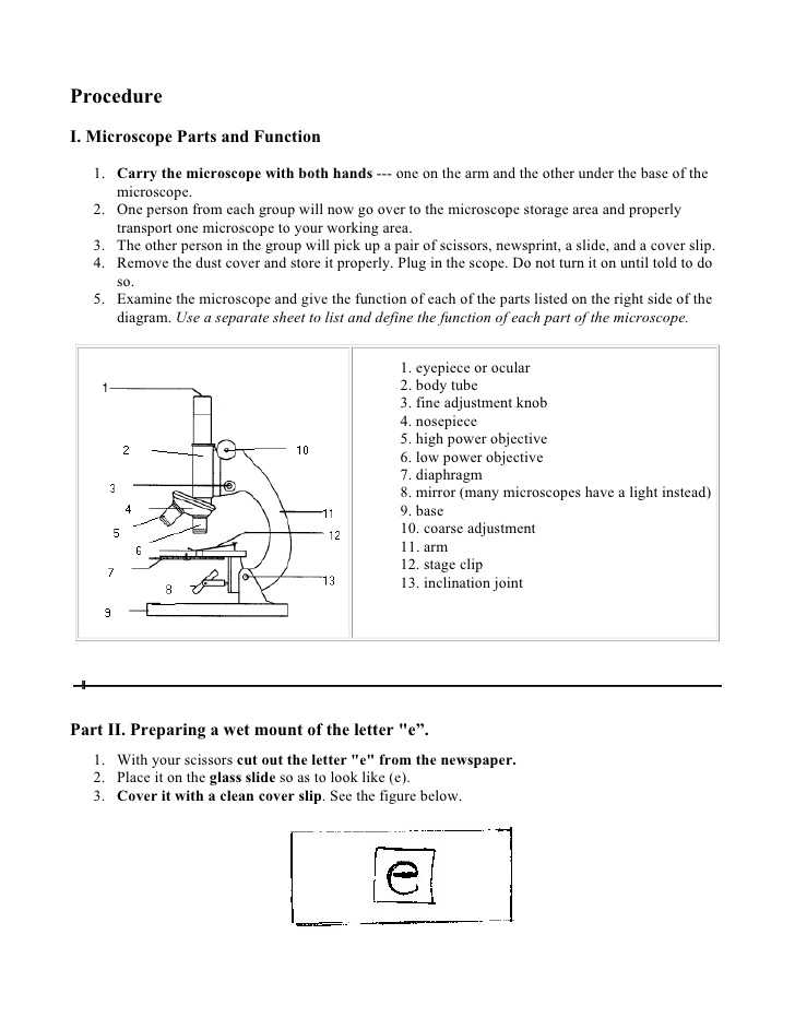 Microscope Parts and Use Worksheet Answers with Using A Pound Light Microscope Lab Answers
