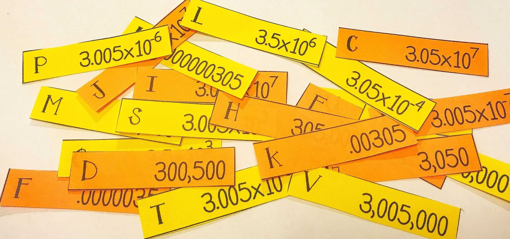 Middle School Math Worksheets and Scientific Notation Card sort