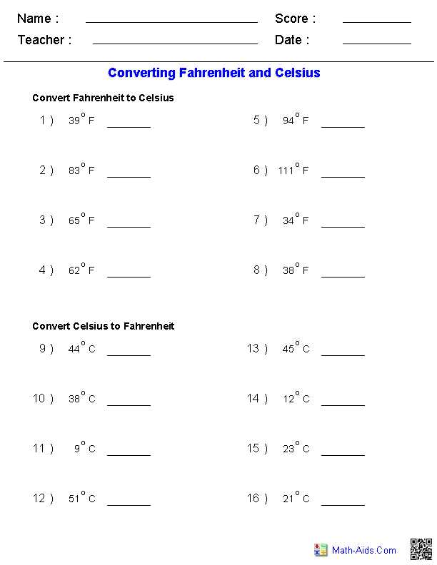 Mixture Problems Worksheet as Well as Converting Fahrenheit & Celsius Temperature Measurements Worksheets