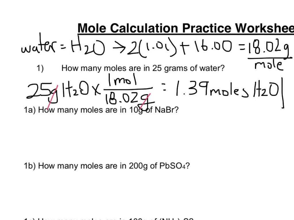 Moles Molecules And Grams Worksheet