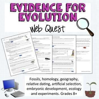 Natural Selection Worksheet with Evidence for Evolution Webquest