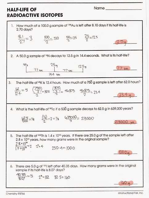 Nuclear Equations Worksheet with Answers or Nuclear Decay Worksheet with Answers Page 34 Kidz Activities