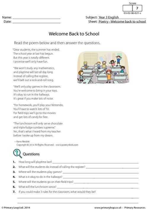 Poetry Worksheets Printable with Primaryleap Wel E Back to School Poetry Worksheet