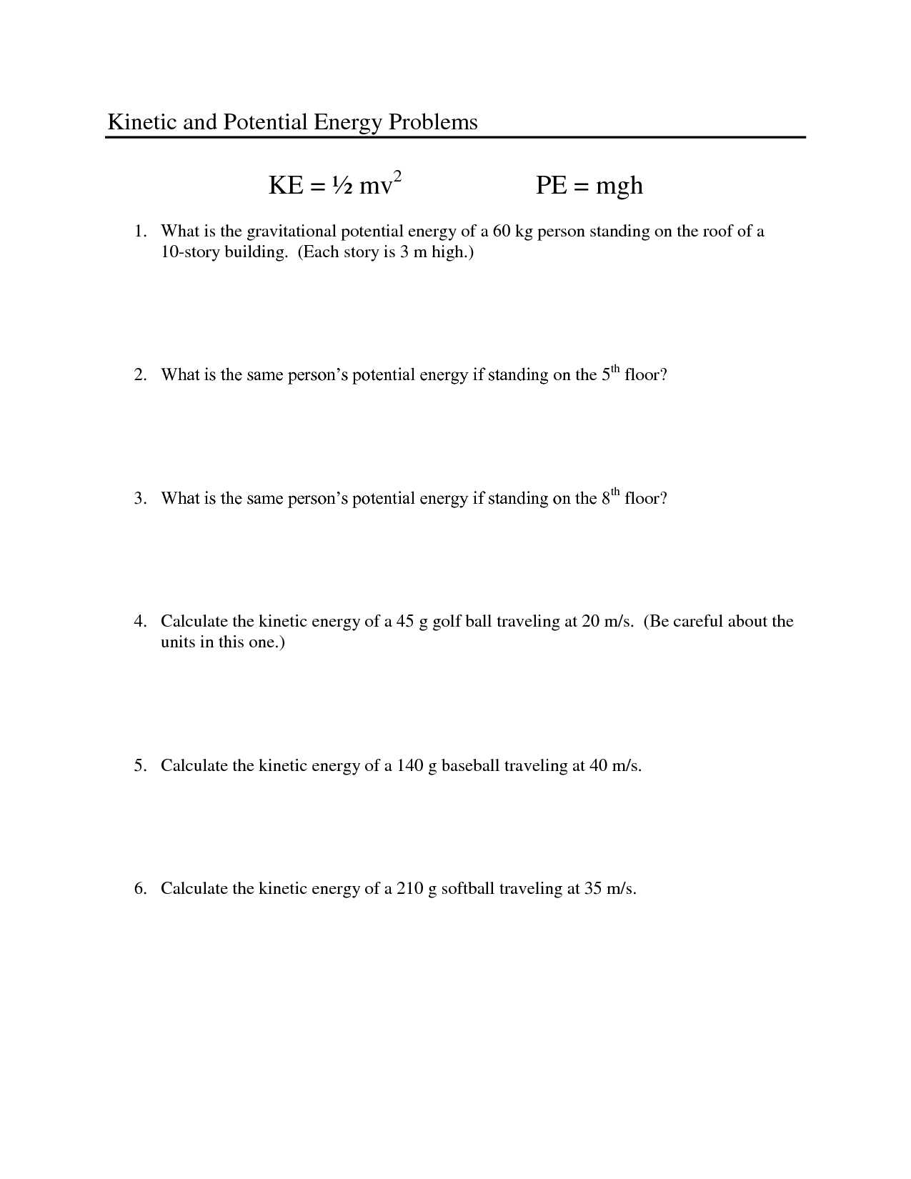 Potential Energy Problems Worksheet or Kinetic and Potential Energy Worksheet Worksheet for Kids