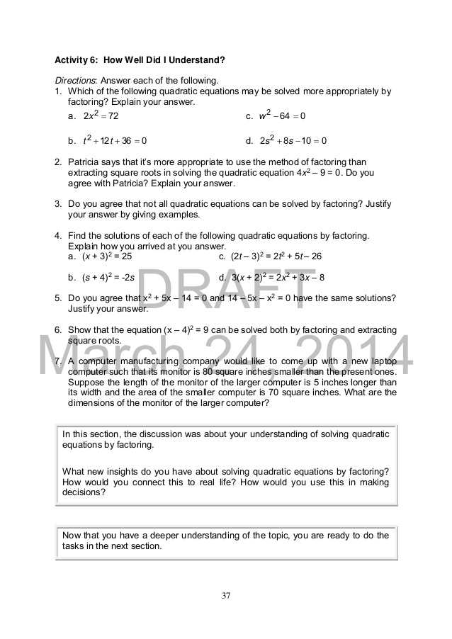 Practice 5 5 Quadratic Equations Worksheet Answers and Mathematics 9
