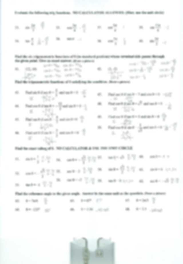 Precalculus Worksheets with Answers Pdf as Well as Unit Circle Worksheet Math 36