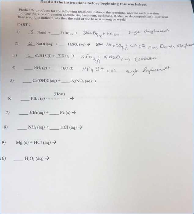 Predicting Products Of Chemical Reactions Worksheet together with Type Reactions Worksheet