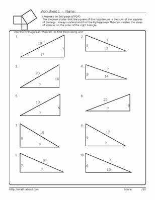 Pythagorean theorem Worksheet Answers with Pythagorean theorem Word Problems Worksheet Kuta the Best Worksheets