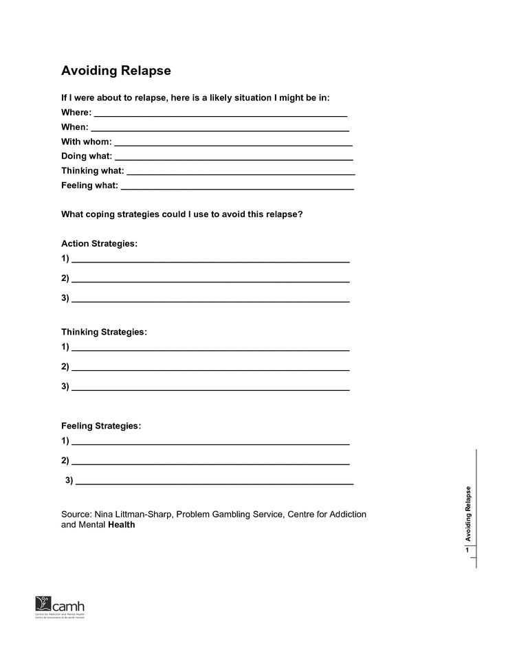 Relapse Prevention Plan Worksheet Template and 19 Best Relapse Prevention Images On Pinterest