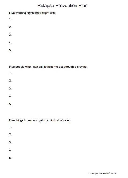 Relapse Prevention Worksheets and 19 Best Relapse Prevention Images On Pinterest