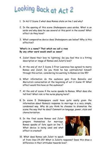Romeo and Juliet Worksheets Act 1 and Romeo & Juliet Act 2 Questions A Worksheet by Maz1 Teaching