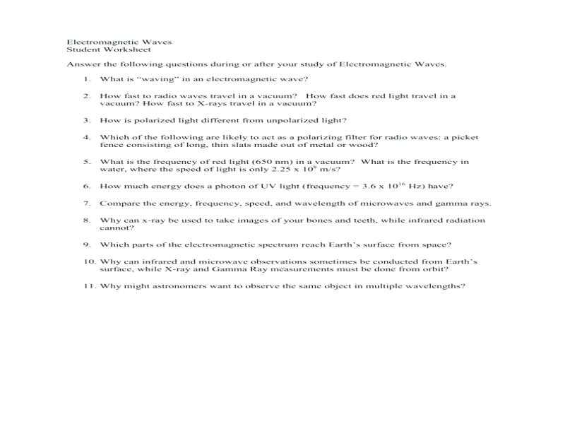 Science 8 Electromagnetic Spectrum Worksheet Answers Also Math Skills Wave Speed Worksheet Answers Worksheet Math for